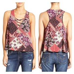 Chloe & Katie | Floral Print Lace-up Swing Tank XS